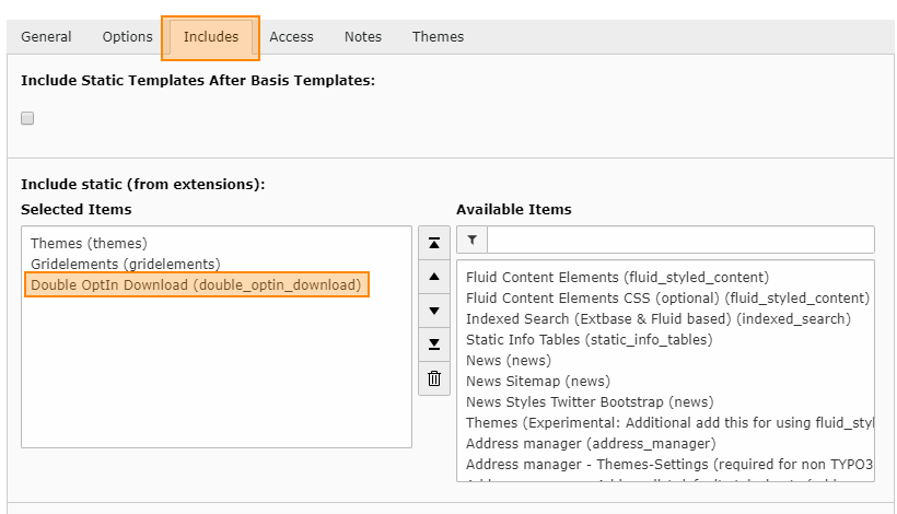 Statisches Template im TypoScript Root-Template auswählen