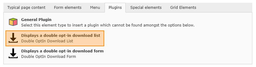Plug-In: List