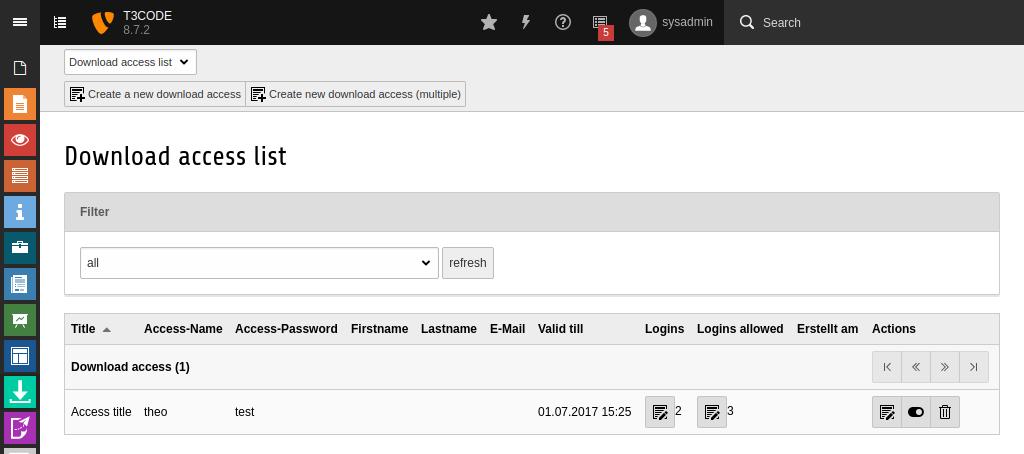 Übersicht der Downloadzugänge im Downloadmanager-Modul