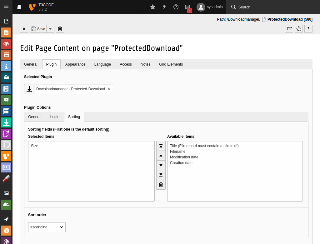 Sortierungs Einstellungen für geschützte Downloads