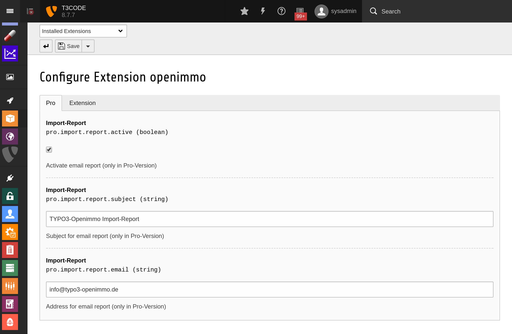 PRO-Einstellungen der OpenImmo-Erweiterung