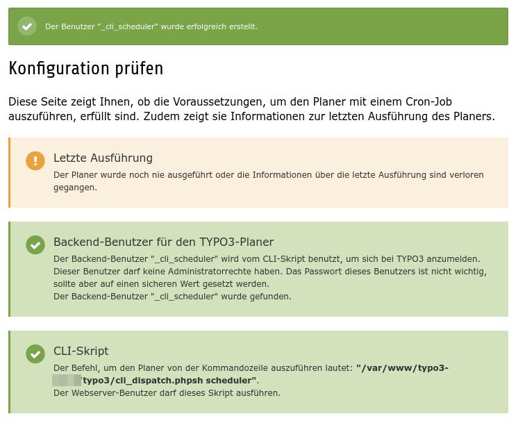 Scheduler Konfiguration bei erfolgreich erstellten Backend-Benutzern