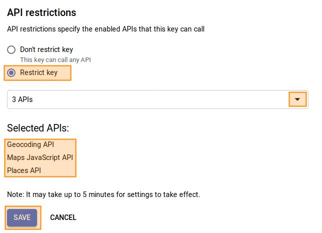 Google-Maps API Bibliotheken auswählen
