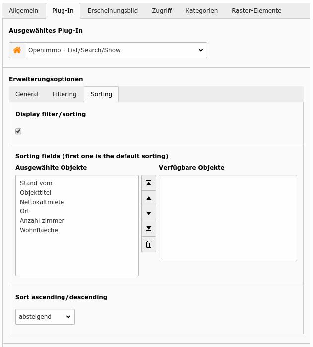 Pflichteinstellungen für das List/Search/Show Plugin