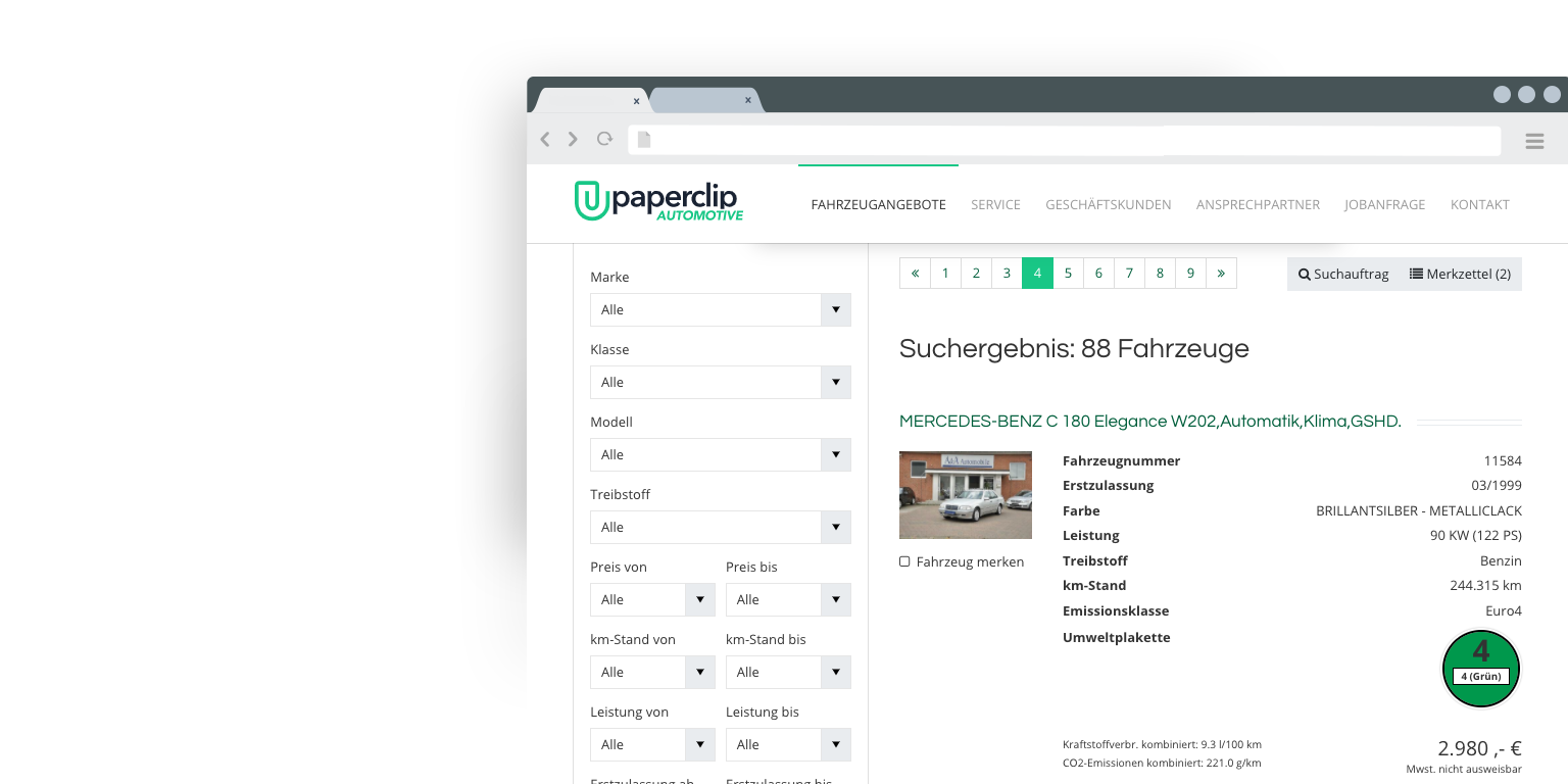TYPO3 Paperclip Car search with mobile.de interface